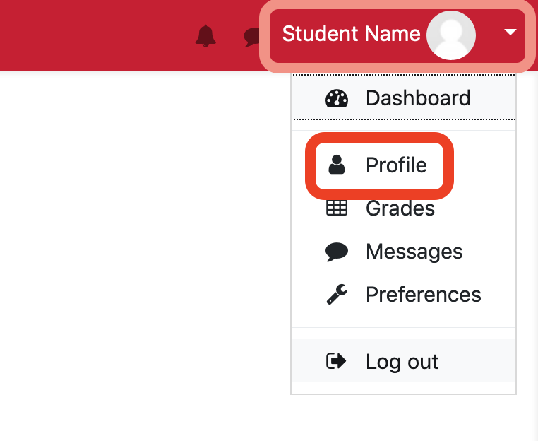 Accessing your Profile screenshot
